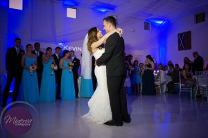 First Dance, Bride and Groom, Uplighting, Blue Uplighting, Wedding Reception, Ballroom