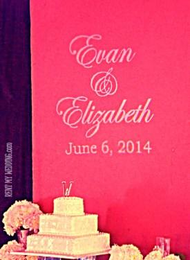 Gobo monogram and wedding cake