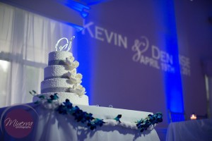 Wedding Cake, Gobo, Gobo Monogram, Uplighting, Bue Uplighting