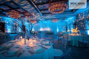 wedding, uplighting, uplights, blue uplighting, blue, under the sea, theme, gobo, monogram, gobo monogram. diy, event