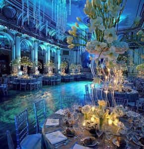 diy, wedding, event, uplighting, uplights, blue uplighting, teal, gobo, monogram, pattern gobo, centerpieces, formal, dance, flowers, tall centerpieces