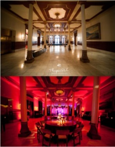 diy, wedding, uplighting, red uplighting, uplights, before and after, reception, transformation