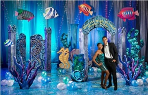 under the sea, theme, prom, formal, high school, ocean theme, under the sea theme, blue uplighting, uplights, uplighting, diy
