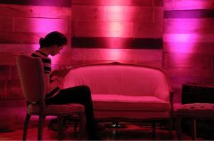 pink uplighting, pink uplights, party, event, lounge, diy, purple uplighting, intimate lounge, champagne & ink