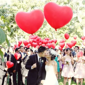 wedding, diy, heart, heart shaped balloons, balloons, hear balloons, wedding send off