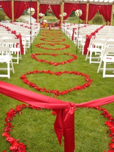 wedding, diy, ceremony, rose petals, heart shaped petals
