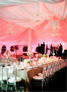 uplighting, pink uplighting, tent, pink tent uplighting, diy, wedding reception, ceremony
