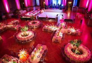 pink uplighting, diy, wedding, wedding reception, valentine's day wedding