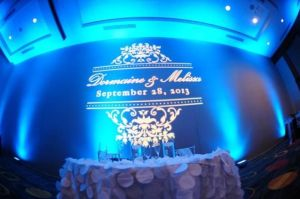 wedding, diy, monogram, gobo, gobo monogram, monogram lighting, wedding gobo