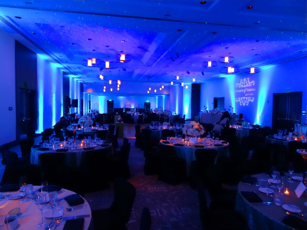 Uplighting, starry night lighting, and gobo monogram (no pin spots)
